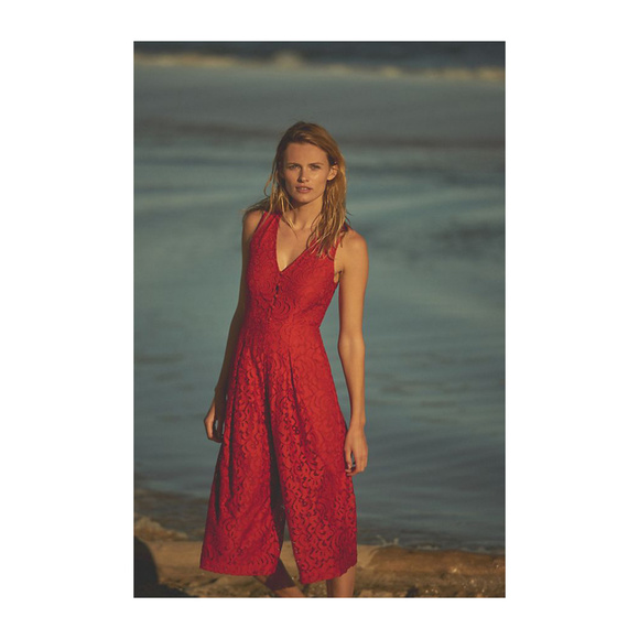 HP Anthropologie Jaeda Lace Wide Leg Jumpsuit Red